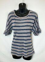 Lucky Brand Women's Blue & Tan Striped Sweater! Short Ruffled Sleeves. Sz L NWOT