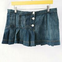 Size 13 Denim Skirt Womens Blue Jean Mini Skirt Pleated Maurices Soft And Worn