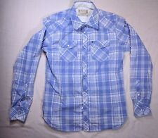 Mark Ecko Cut and Sew Western Pearl Snap Blue and White Plaid Size Small