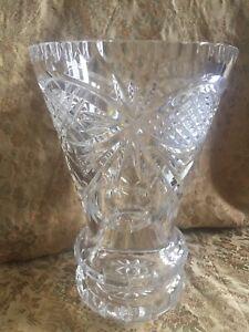 Vintage Lead Crystal Glass Vase Heavy Bottomed
