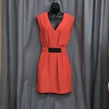 RACHEL ROY 2 Campari Warm Coral V Neck Sleeve Elastic Belt Shift Dress Pockets