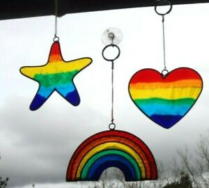 RAINBOW /STAR/HEART SUN CATCHER * STAINED GLASS EFFECT * NHS * LGBT * With Hook