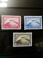 """Germany Stamps SC# 35-37 1928-31 """"Graf Zeppelin"""" Over Globe Replica Place Holder"""