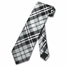 Vesuvio Napoli NeckTie Black Gray White PLAID Design Mens Neck Tie