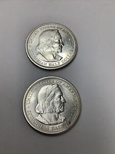 Lot of 2 1892 World's Columbian Exposition Silver Half Dollars