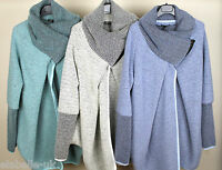 New Ladies Wool Mix Cocoon Lagenlook Coatigan Jacket Coat OSFA 10 12 14 16 18