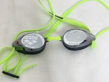 Arena Tracks Jr Neon Green Swim Goggles Racing Adjustable Tinted Mirrored