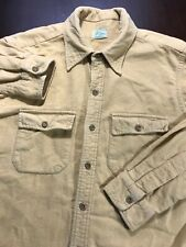 Vintage 60s 70s Mens Sz 17 Ll Bean Button Down Shirt Cotton Flannel Mustard