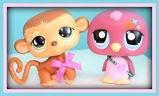 """❤️2 Littlest Pet Shop LPS Large Size JUMBO 4.5"""" DECO Pets Monkey & Penguin Lot❤️"""