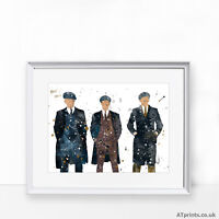 Peaky Blinders Print Poster Watercolour Framed Canvas Wall Art Gift Thomas Alfie