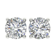 SI1/G Prong Set 1.01 Ct Round Diamond Jewelry Platinum Solitaire Stud Earrings