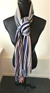 Missoni NWT Orange Label Multi-Color Striped Long Wool Blend Scarf Retail $188
