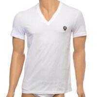 Dolce & Gabbana Underwear Sport Crest Deep V-Neck Stretch Cotton T-Shirt, White
