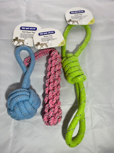 ROPE TOYS FOR DOGS PACK OF 3 TOYS ASSORTED COLOURS *GREAT VALUE PACK* TUG FETCH