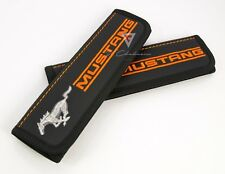 Car Seat Belt Leather Shoulder Pads Covers for Ford Mustang Embroidery Orange