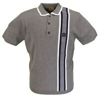 Gabicci Vintage Mens Grey Knitted Polo Shirt