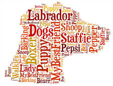 Personalised Dog Lovers Dog Face Word Art Print Great Gift Birthday Mum Dad