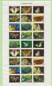 SURINAM/SURINAME Sc 1366 NH MINISHEET W/TABS of 2008 - BUTTERFLIES