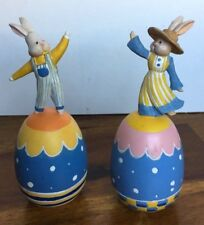 Russ Berrie & Co. Bunny Rabbit pair atop Easter Eggs #10867 figurines home decor
