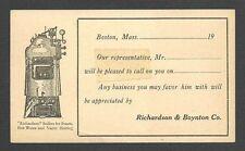 UX27 P C BOSTON MA RICHARD & BOYNTON, BOILERS FOR STEAM SALESMANS CALLING CARD