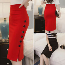 Plus Size 6-24 Womens Ladies Peplum Split Frill Pencil Bodycon Knee Length Skirt