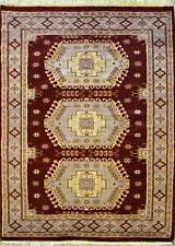 Rugstc 4x6 Caucasian Design Red Area Rug, Hand-Knotted,Geometric with Silk/Wool