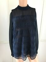 Pretty Next Navy Top Blouse Size 10, Lined Body, Suit Blouse, Lace, Embroidery