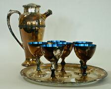 Vintage silver plate & blue enamel Cocktail Martini Shaker 6 glass & tray set