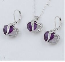 SP purple necklace & earring gift set.mother sister friend aunt grandmother