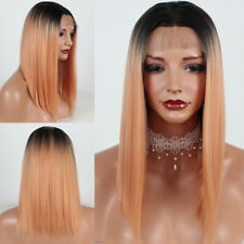 Women's Straight Hair Ombre Orange Synthetic Lace Front Wigs Natural Short Bob
