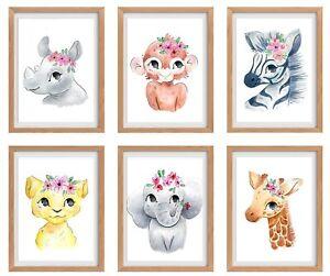 "Baby Girl Nursery Decor, Nursery Wall Art, Baby Room Decorations 6 Prints 8x10"""