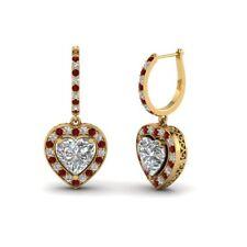 1ct Heart Cut Diamond Ruby Love Vintage Drop Earring Women 18ct Yellow Gold Over