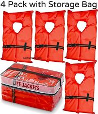 Life Jacket Vest Preserver 4 Pack Type II Orange Adult Fishing Boating USCG PFD