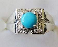 Men's Sleeping Beauty Turquoise Ring, 925 Sterling Silver, sz 14 ---  6.4 grams