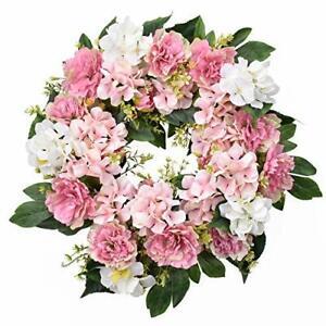 Spring Wreath for Front Door 22-24 Inch, Artificial Summer Green Pink Peony