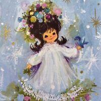 Vintage Mid Century Christmas Greeting Card Pretty Girl Hallmark Blue Snowflakes