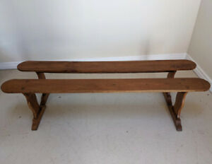 WONDERFUL PAIR OF FRENCH ANTIQUE CHERRYWOOD RUSTIC WOODEN BENCHES
