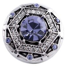 Silver Purple Rhinestone 20mm Snap Charm Button For Ginger Snaps Magnolia Vine