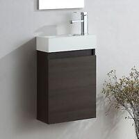 FELIX WALL HUNG DARK OAK VANITY UNIT WHITE RESIN BATHROOM BASIN SINK 400MM