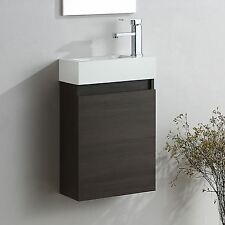 FELIX WALL HUNG DARK OAK VANITY UNIT WHITE RESIN BATHROOM BASIN SINK 400MM
