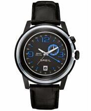 Orologio Solo Tempo Uomo Breil GMT TW1194 Acciio Pelle Nero Blu Data Secondiera