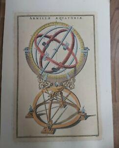 Antique engraving 1700 Armilla Equatoriae Armillary Original Coloured Astronomy