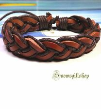 Men's Trendy Classic Hemp Leather Woven Surfer Biker Hip Character Wristband
