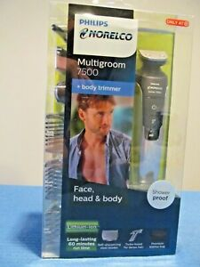 NEW PHILIPS NORELCO MULTIGROOM 7500 ELECTRIC SHAVER & BODY TRIMMER RECHARGEABLE