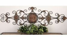 Large Tuscan Old World Decorative Scroll Wrought Iron Wall Grille Art Plaque NEW