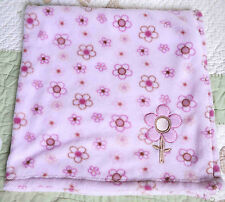 Cutie Pie Pink Polyester Plush w Pink & Brown Flowers Baby Girl Blanket Euc