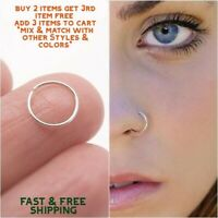 Surgical Stainless Steel Plain Silver Nose Ring Hoop 8mm 16 Gauge