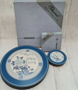6 vintage Round Pimpernel place mats And 6 Coasters boxed blue bamboo satin