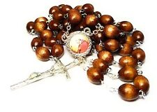 St Charles Borromeo brown relic rosary,of intestinal disorders, catechists