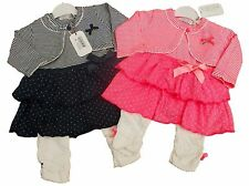 BNWT Baby girls 3 piece outfit clothes Dress leggings and bolero  pink or navy